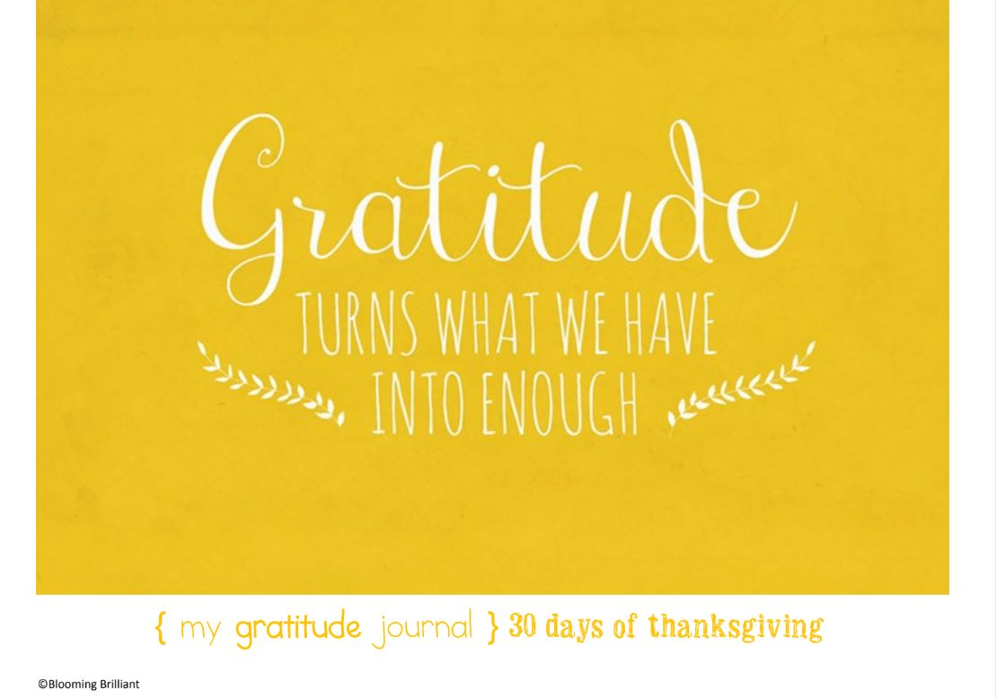 Show Gratitude all month of November. Teach being thankful with 30 days of thanksgiving thankful journal.