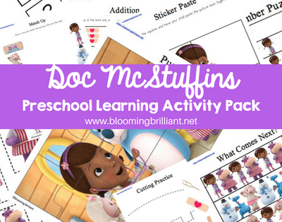 An educational printable Doc Mcstuffins preschool learning activity pack, perfect for toddlers and preschoolers to begin learning basic skills while having fun.