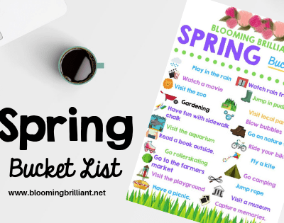 Looking for fun activies to do this spring? Download our free Spring Bucket List with tons of ideas to do this spring with your kids.
