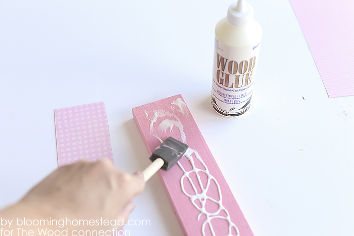 Apply paper with wood glue