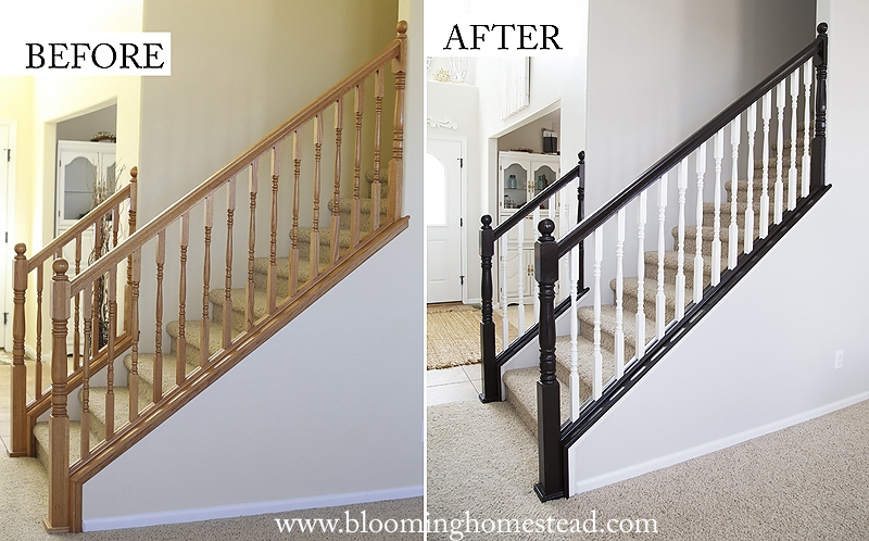 Stair Railing Makeover One Year Later Blooming Homestead | Cost To Restain Stair Railing | Spindles | Refinishing Hardwood Stairs | Baluster | Sanding | Paint
