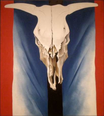 Georgia O'keefe's Cow's Skull: Red, White and Blue.