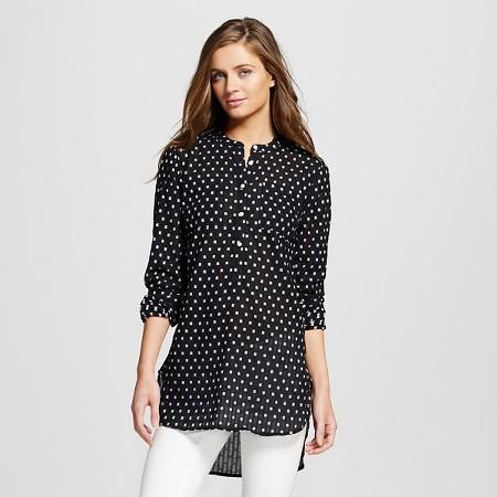 Women's Clipspot Favorite Tunic Mandarin Collar Black - Merona TARGET $24.99