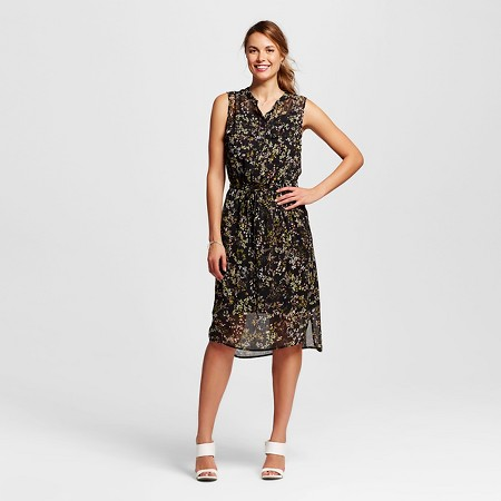 Women's Fairytale Floral Shirt Dress Dress Black - Merona TARGET $27.99