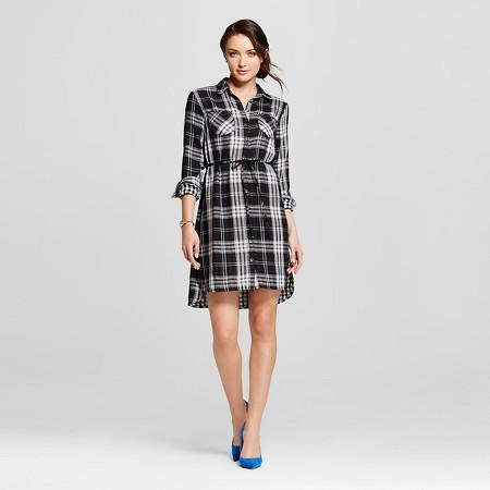 Women's Plaid Double Weave Shirt Dress - Merona Black TARGET $27.99