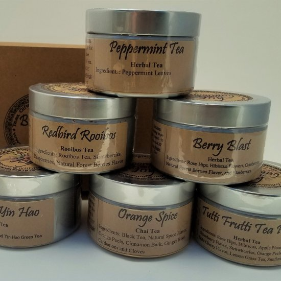 6 tin tea gift set blooming with joy