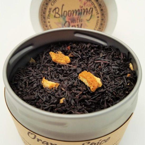 orange spice tea blooming with joy