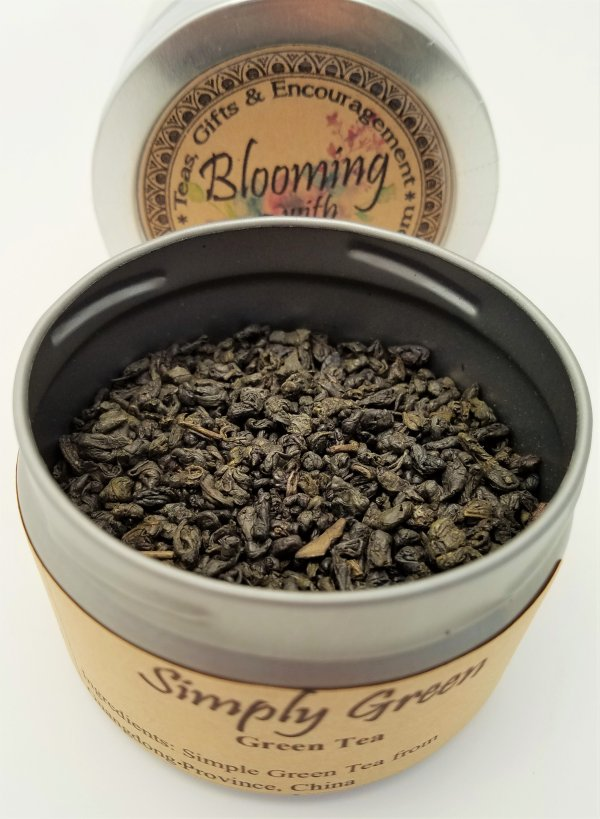 simply green tea blooming with joy