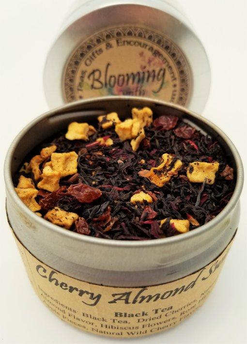 cherry almond tea blooming with joy