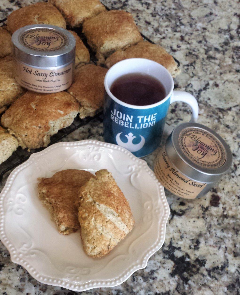 simple scones, cinnamon tea, cooking with tea