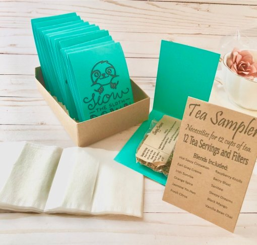 slow the sloth down tea sampler
