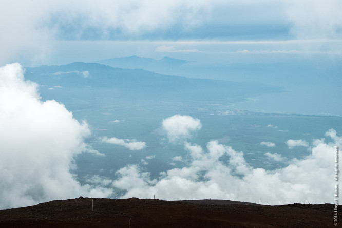 View north to West Maui Mountains and Molokai from Haleakala
