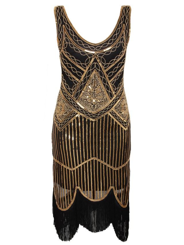 K185 Gold 1920s Flapper Dress Great Gatsby Charleston 20s ...