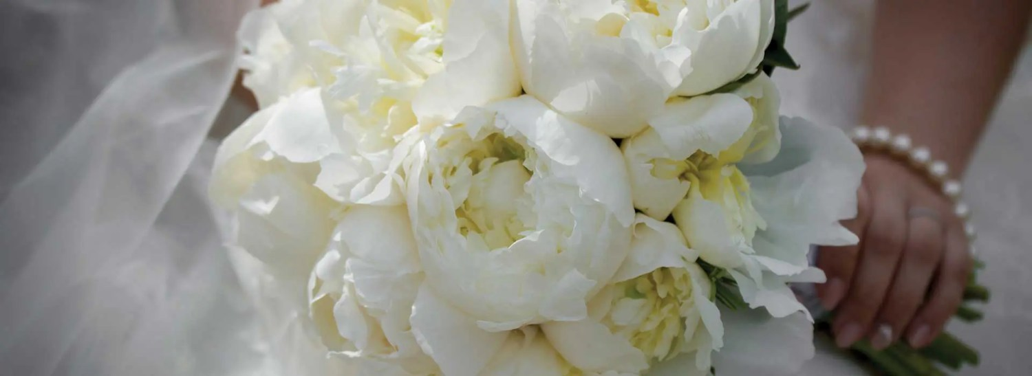 bridal bouquet summer wedding peonies
