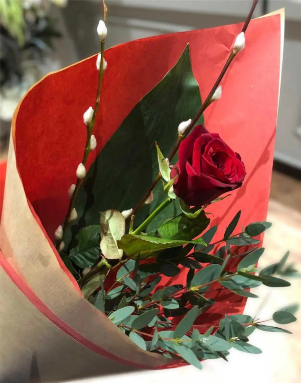 single red rose valentines day bouquet 1
