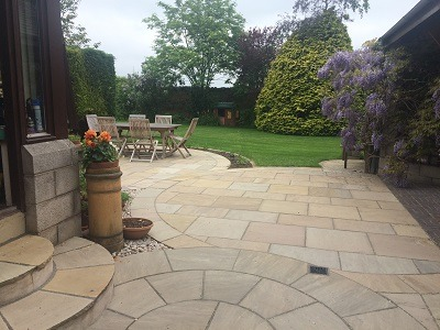 Circular patio East Lothian
