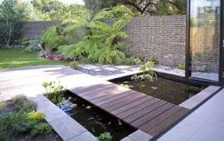 Koi carp contemporary pool with bridge