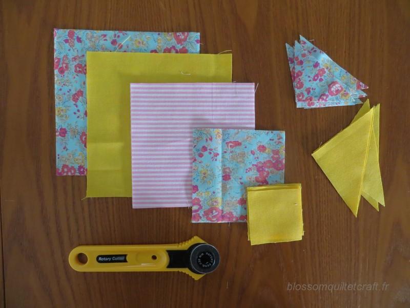 decoupage des tissus pour bloc patchwork