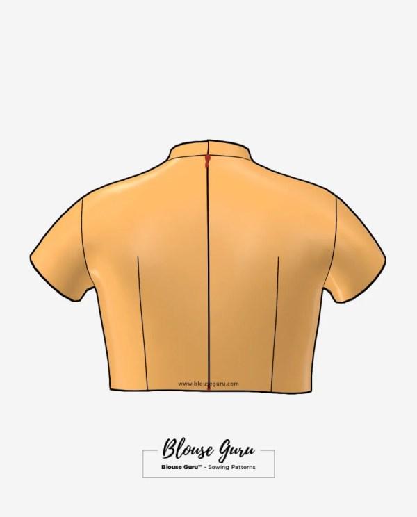 Blouse Guru Collar Neck Back Open Design 3 Back