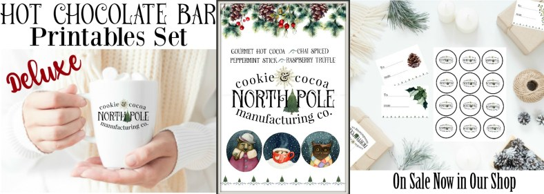 North Pole Cookie & Cocoa Manufacturing Christmas Printables   blowingawayoutwest.com - A Christmas Cocoa Bar and a downloadable set of hot chocolate bar prints with matching gift tags #christmasprintable #hotchocolatebar #cocoabar #christmasprints #gifttags