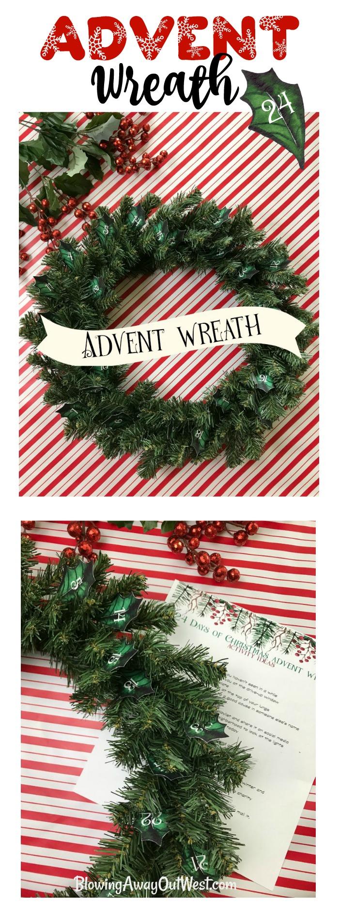 Christmas Advent Calendar Wreath   blowingawayoutwest.com - DIY Christmas Advent Calendar Wreath with Free Project Printables #adventcalendar #christmaswreath #adventcalendarwreath #freechristmasprintable #diywreath #12daysofChristmas