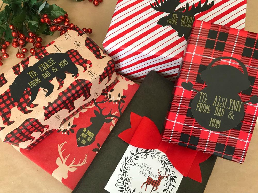 Buffalo Check Wrapping Theme with Free Printable Reindeer Gift Tags
