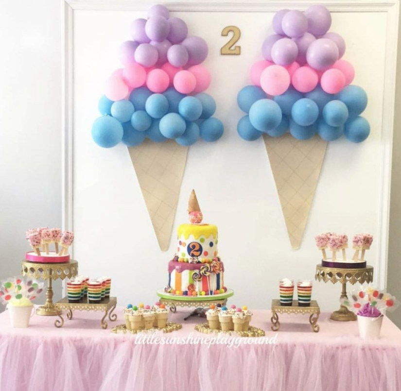 Ice Cream Theme Birthday Party Room And Table Decoration Ideas