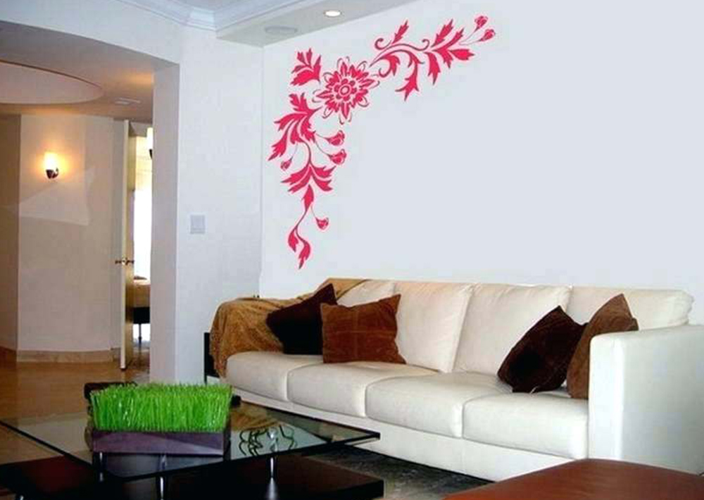 Red flowers painting design on living room wall