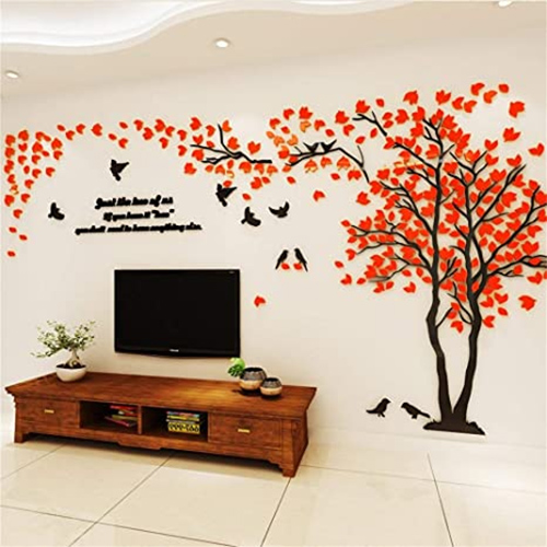Bedroom Wall Art Designs With 3D Tree
