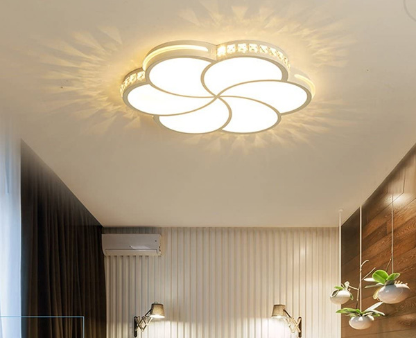 Glowing Flower Ceiling Design For Bedroom