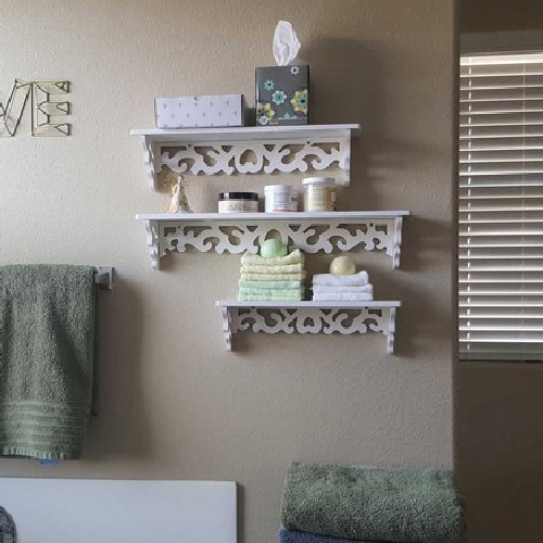 White Wood Floating Shelves