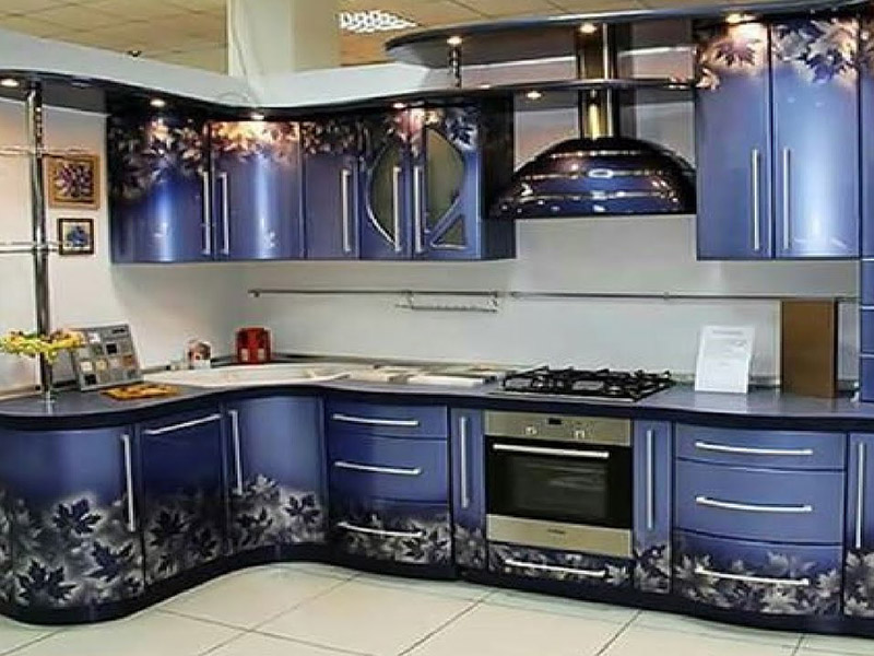 3d Style Kitchen Cabinet Blue Printed