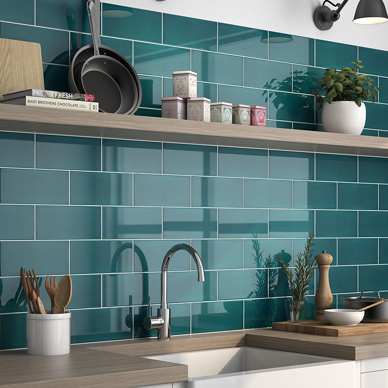 Green Color Kitchen Tiles