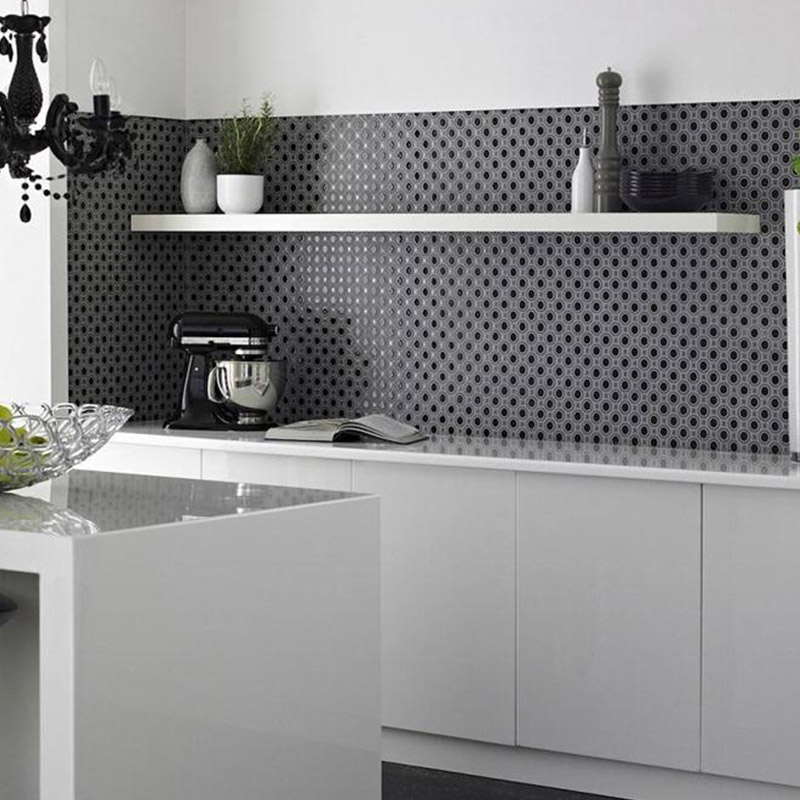 Grey Grid Kitchen Tiles