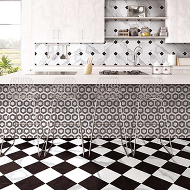 Marble Look Pattern Kitchen Tiles