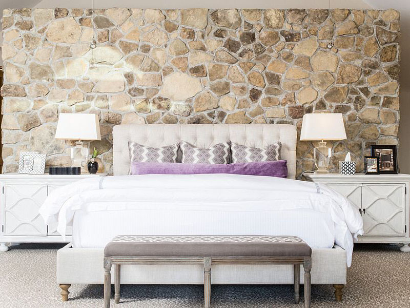 Bedroom With Stone Wall Tiles