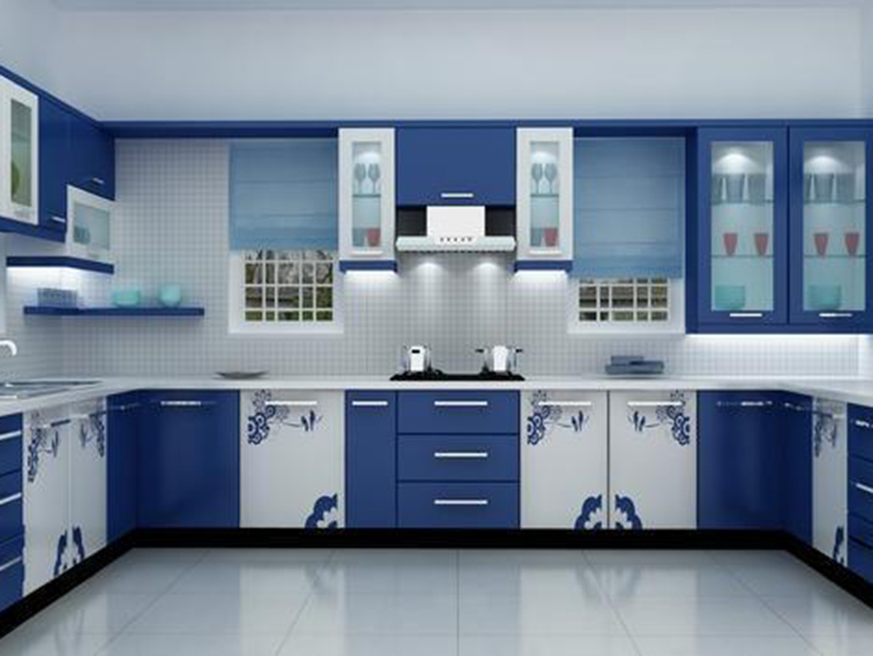 Blue Color Kitchen Cabinet With White Color