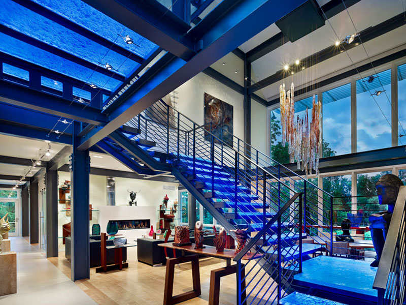 Blue Color Stair Hall Design