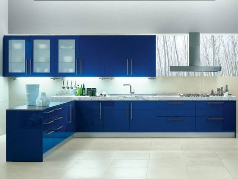 Blue With White Kitchen Cabinet 1