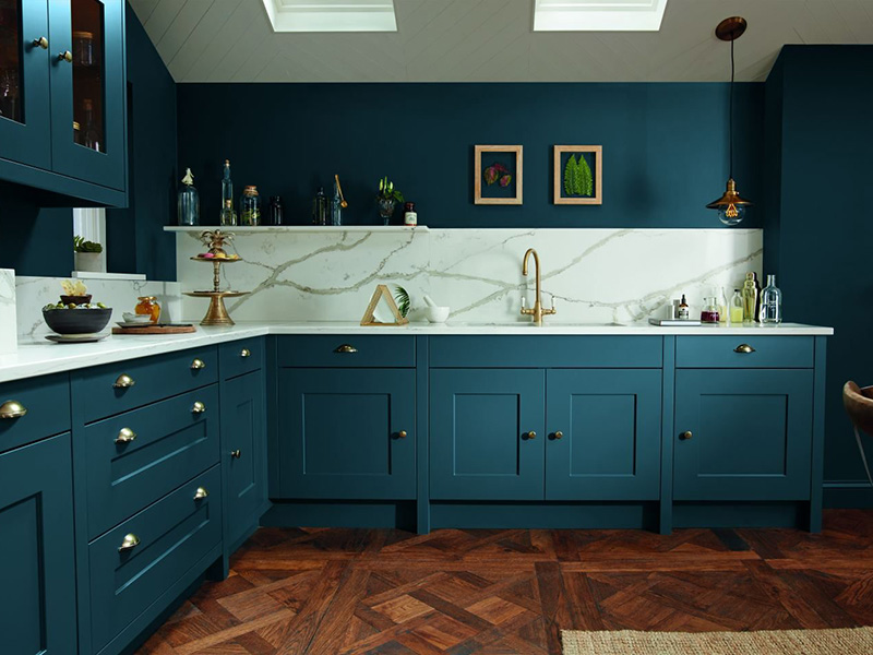Blue Woody Kitchen Cabinet