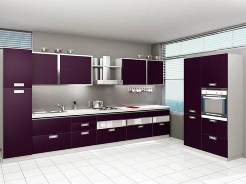 Dark Purpal Kitchen Cabinet