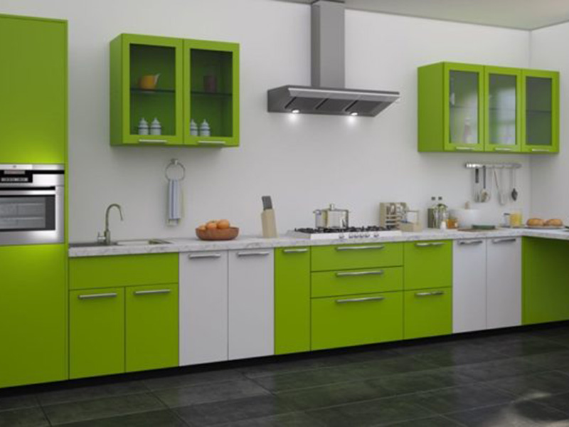 Green With White Color Combination Kitchen Cabinet 1