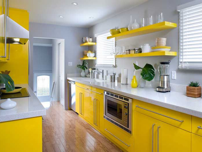 Modern Small Simple Kitchen Yellow With Sky Color