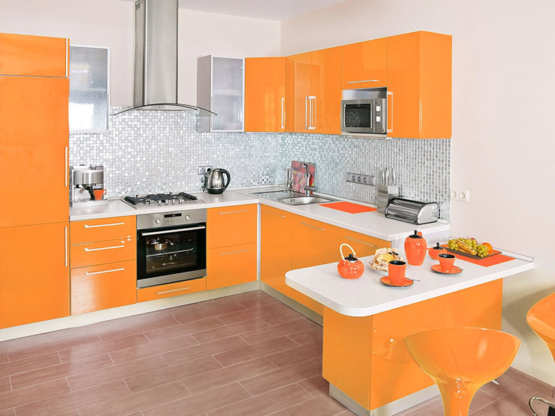 Orange Light Color Kitchen Cabinet Of Aluminium