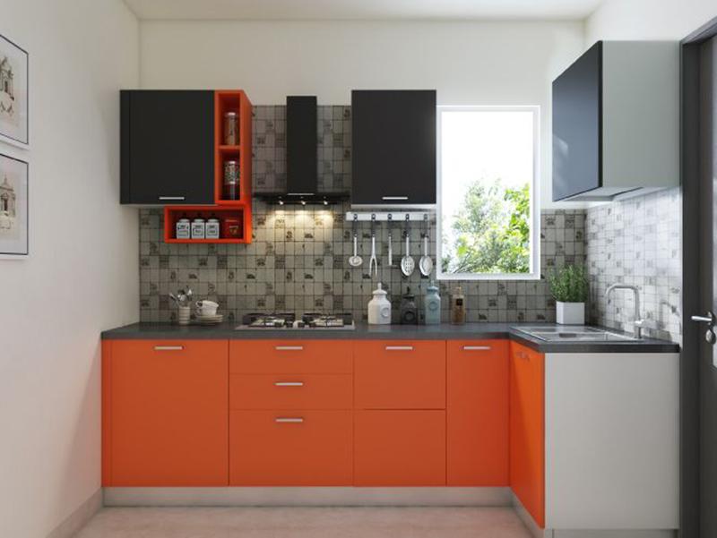 Radish Orange Color Small Kitchen Cabinet