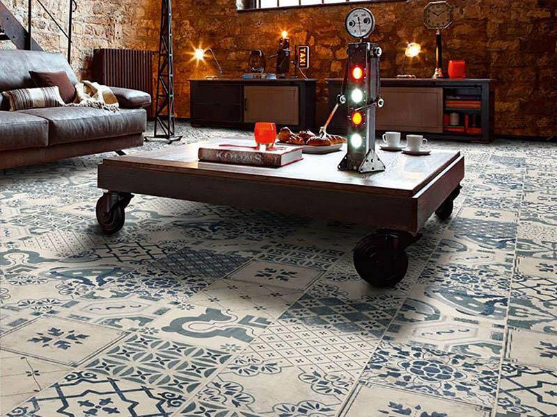 Unique Floor Tiles In Living Room Design