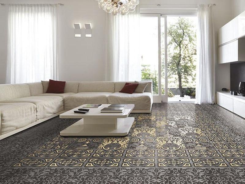 Unique Floor Tiles In Living Room
