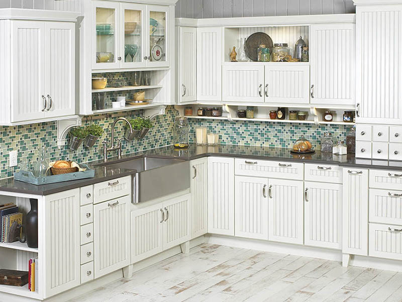 White Cabinet And Shelf In Kitchen