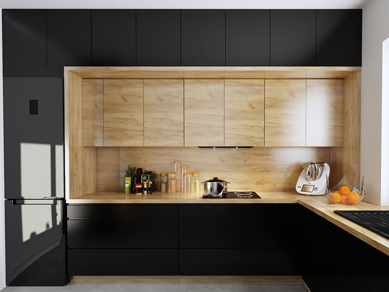 Wood Kitchen Cabinet Black Color
