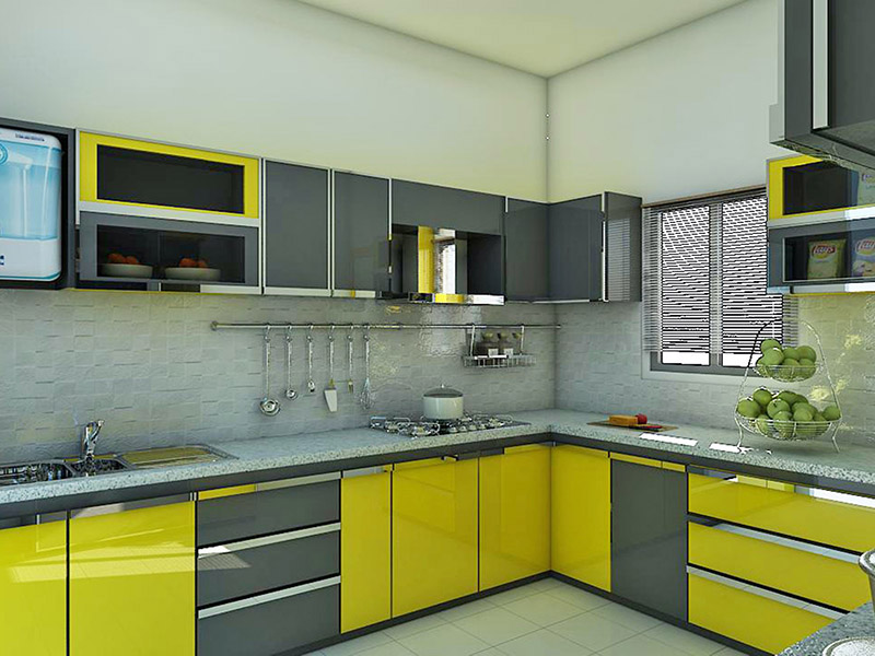 Yellow Grey Kitchen Cabinet